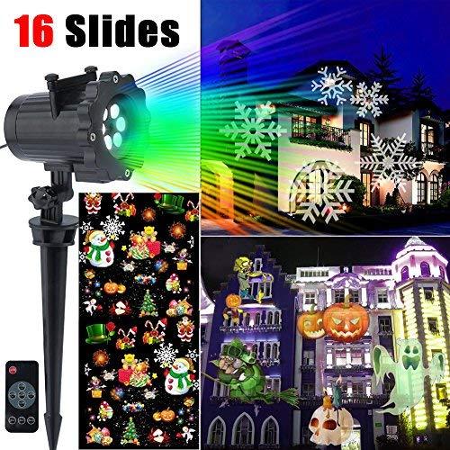 Proiettore Natale Luci 14 Model Spotlight Proiettore di Luce Rotante,Giardino LED Luce Impermeabile per Natale Halloween Festa di Nozze Compleanno Vacanze Carnevale[Nuova Versione]