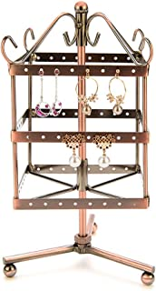 Placextre 96 Holes Earrings Necklace Jewelry Display Shelf Rotatable Metal Display Stand Holder