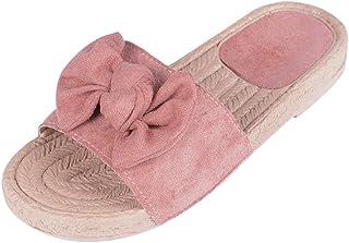 0088a3dd906d2 Vertvie Damen Pantoletten Hausschuhe Schlappen Sandalen mit Schleife  Zehentrenner Sommerschuhe Rutschfest Flach Strand Sommer