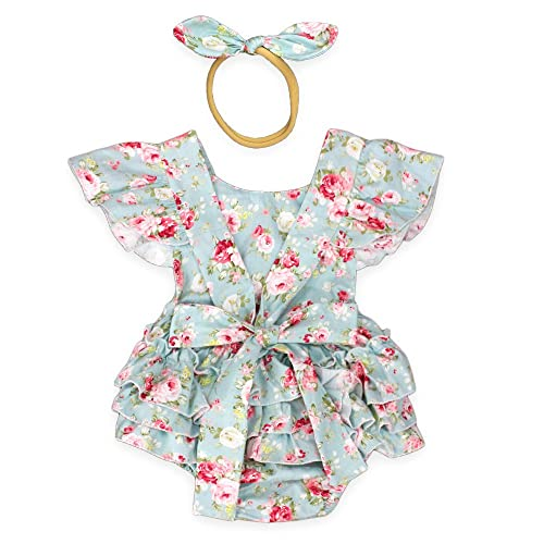92a56c3da Luckikikids Baby Girls Cotton Vintage Floral Ruffle Rompers Clothing  Headband Set