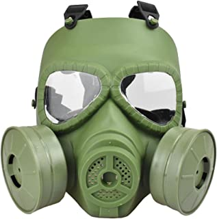 Jadedragon Tactical Paintball Dummy Gas mask Full Face Eye Protection Skull Skeleton Mask with Double Exhaust Fan for Cosplay Protection Zombie Soldiers Halloween