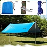 Esoes Sun shade Tarpaulin - 3m x 3m Waterproof Lightweight Snowproof Tarp Beach Tent Hammock Fly Sunshade for Camping…