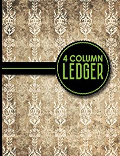 4 Column Ledger: Ledger Books, Accounting Ledger Sheets, General Ledger Accounting Book, Vintage/Aged Cover, 8.5