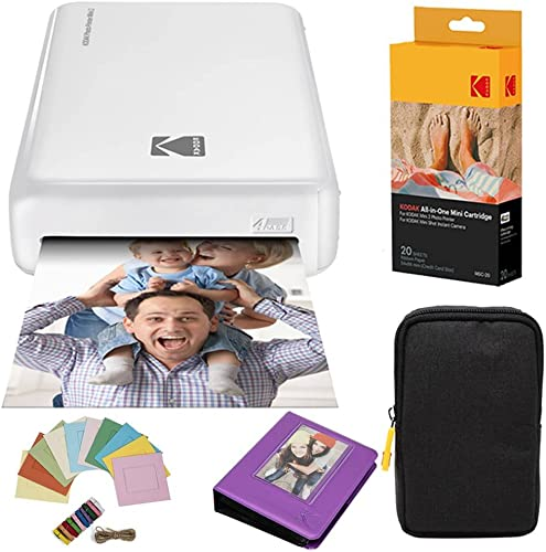 2021 Kodak AMZKODMP2K2W Mini2 Instant Photo Printer (White) Deluxe Bundle + Paper (20 Sheets) + Deluxe Case lowest popular + Photo Album + Hanging Frames online