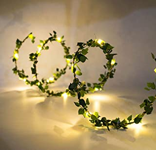 Beaumode 20LEDs Warm White Tiny Leaf Garland Holiday Copper Battery Powered Fairy String Lights for Christmas Party New Year Wedding Garden Décor (Warm White)