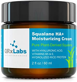 Pure Plant-Based Squalane HA+ Moisturizing Cream with Hyaluronic Acid – Organic ECOCERT Approved USDA Certified Squalane D...