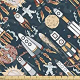 Ambesonne Spaceship Fabric by The Yard, Hand Drawn Space Exploration Themed Cartoon Drawing Style Image Alien Planets, Decorative Fabric for Upholstery and Home Accents, 1 Yard, Night Blue