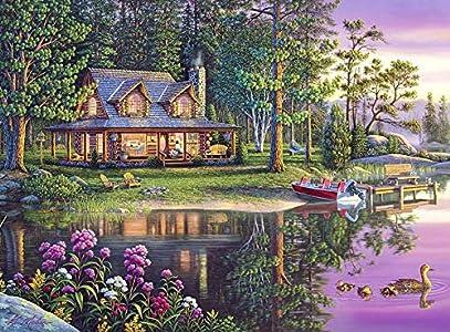 Kits de pintura de diamantes 5D imagen de casa diamantes de imitación bordado de diamantes junto al lago paisaje decoración de punto de cruz hogar A3 40x50cm
