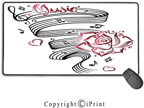 Gaming Mouse pad,Tattoo Decor,Pencil Drawing Romantic Hourglass Symbol of Eternal Love with Roses Print,Black and White, Suitable for Offices and Homes, Mouse pad with Lock,9.8