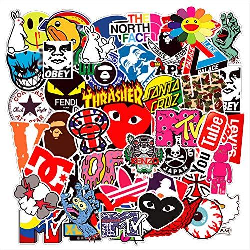 Cool Brand Skateboard Stickers, Skateboard Vinyl Sticker Decals for Teens, Water Bottle, Bumper, Laptop, Phone, Car, Travel Durable Vinyl Decal, Trendy Sticker Decals for Teens(100pcs)