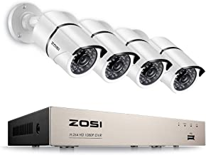 ZOSI 1080P Security Camera System 8CH 4-in-1 1080P Video Recorder DVR and (4) 2.0MP Weatherproof HD-TVI Bullet Surveillance Cameras,100ft Night Vision,Smartphone & PC Remote Viewing