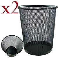 RBZCCP クリエイティブゴミ箱ホームオフィスのリビングルームの浴室の有刺鉄線のワイヤーで覆われていない紙のバスケット (Color : Black)