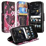 Galaxy Wireless] Compatible for ZTE Maven 3 Case, ZTE Overture 3 Case, ZTE Prelude Plus Case, Wrist Strap Folio [Kickstand] Pu Leather Wallet Case with ID&Credit Card Slot - Hot Pink Hearts