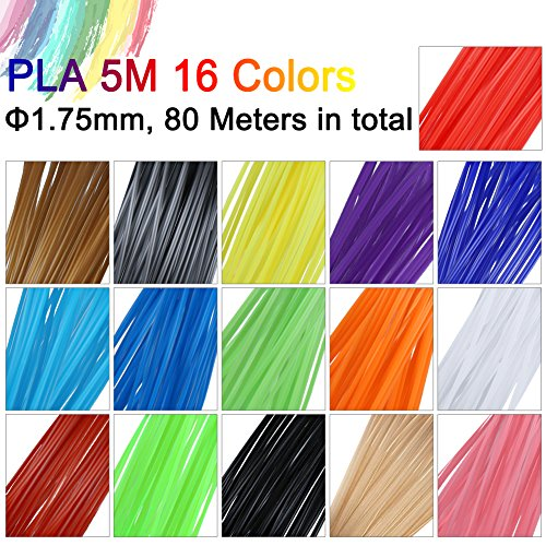3D Stift Filament, Rusee 16 Farben 5M 3D Pen PLA Filament Ink Filament 1.75mm 3D Print Filament 3D Printing Pen Supplies 3D Stift Farben Set für 3D Stift, 3D Drucker, 3D Pen - 3