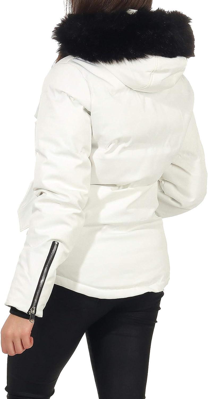 Malito Damen Winterjacke mit Fell | gefütterte Kurzjacke | Jacke mit Kapuze - Steppjacke JF1841 Weiß