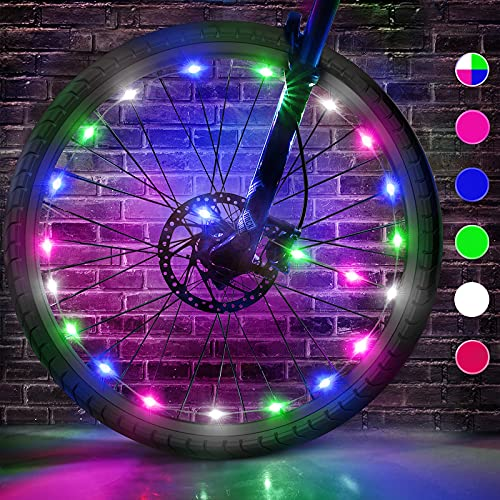 esonstyle 2 Pack LED Bike Wheel Lights with Batteries Included Super Bright &Cool Bicycle Lights for Kids Gift Waterproof Spoke Lights for Bike Wheels Fits More Bikes (Multicolor-2)