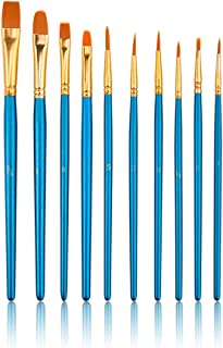 Professional High Qaulity Face and Body Paint Brushes Set , 10Pieces Round Pointed Paintbrush Set Nylon Hair Artist Brush ...