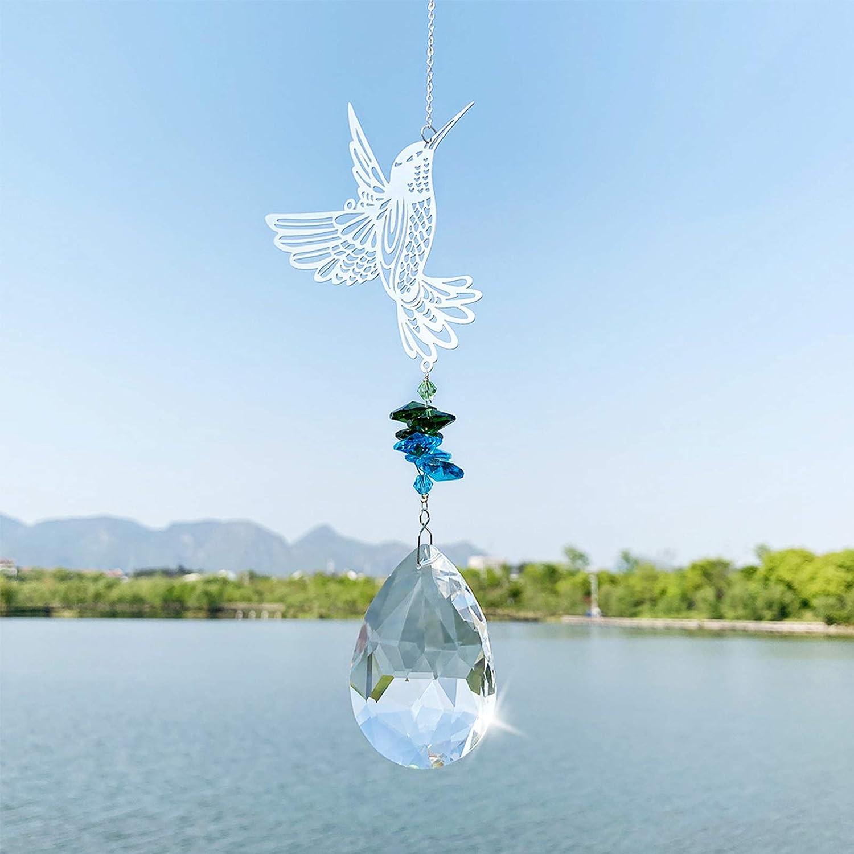 Angoily Rainbow Sun Catcher Crystal Hummingbird Pendant Chandelier Crystal Ball Prisms Chakra Bead Hanging Ornament for DIY Home Ceiling Windows Garden Decoration