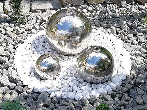 Kugelbrunnen 28 cm incl. LED Komplettset Gartenbrunnen Wasserspiel Edelstahl poliert