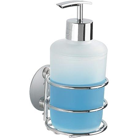 WENKO Turbo-Loc® Distributeur de savon, fixer sans percer, Acier, 7.5 x 16.5 x 9 cm, Chromé