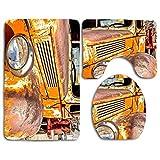N\A Original Digital 's Vintage Truck Print 3 Piezas Alfombra de baño Set Contour Mat Cubierta de Asiento de Inodoro