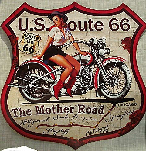 Route 66 - The Mother Road Blechschild, 48 x 48 cm, konturgeschnitten