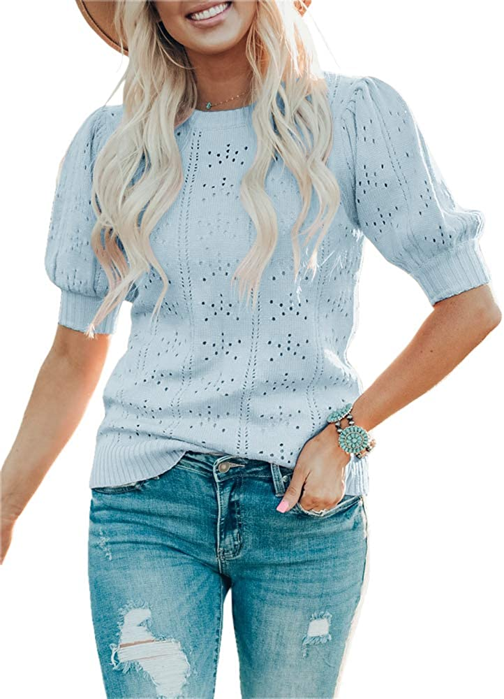Saodimallsu Womens Cute Outstanding Short Puff Crew Max 85% OFF Ne Loose Sleeve Sweaters