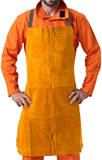 """MR CARTOOL Cowhide Leather Welding Apron 39"""" x 26"""", Thermal Insulation Protection Heat & Flame Resistant Safety Clothing W..."""