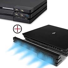 PS4 Pro Ventilador de refrigeración & 5-Port USB Hub Combo Kit - Ventiladores de Control De La Temperatura del Súper USB Cooling Fan Cooler Adaptador USB3.0 para Sony Playstation 4 Pro