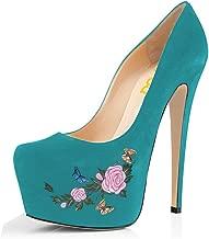 FSJ Women Extreme High Heels Platform Pumps Pointed Toe Embroidery Slip On Dress Shoes