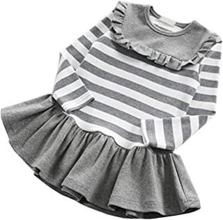 Fairy Baby Toddler Girl Casual Outfit Cute Cotton Striped Ruffle Princess Shirt Dress