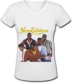 R&B Boy Band New Edition.png Womens V Neck T Shirt White