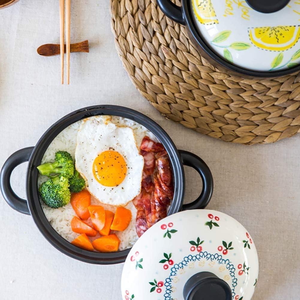 YUHT Casserole de Pot de Soupe en céramique de Riz d'argile, Petit Pot de braisage de Citron de Pot de ragoût de gaz Domestique sûr Pot de Soupe de 2,5 litres Cherry