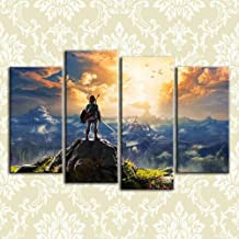 Sdefw Modern Hd Printed Pictures Frame Canvas Painting Poster 4 Panel The Legend Of Zelda Game Wall Art Home Decor For Living Room B30