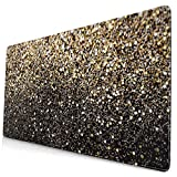 Gold Glitter Design Pattern XXL XL Large Gaming Mouse Pad Mat Long Extended Mousepad Desk Pad Non-Slip Rubber Mice Pads Stitched Edges (29.5x15.7x0.12 Inch)