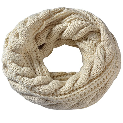 Miobo Zopfmuster Stricken Loopschal Wolle warmen Winter Dicke Schal Schleife Kreis Schal Gestrickte Rundschal Schlauchschal (Beige)