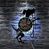 xcvbxcvb Reloj de Pared Art Deco de Entrenamiento de Perro Bonito Reloj de Pared con Registro de Vinilo de Raza de Perro Mural de Animales creativos Habitación para niños