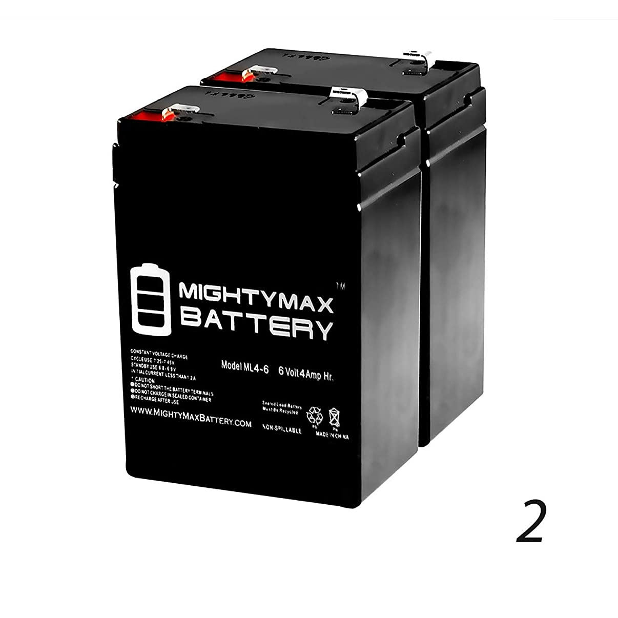 Mighty Max Battery ML4-6 - 6V 4.5AH Lithonia ELB06042 SLA Replacement Battery - 2 Pack Brand Product