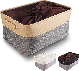 Mangata Boîtes de Rangement en Tissu Panier de Rangement en Toile avec Poignées pour Étagères Vêtements Jouets (Pliable, G...