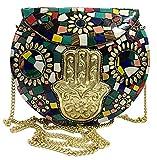 Mano Nupcial De Las Mujeres Mosaico Bohemio Monedero Etnico Metal Clutch Multicolor