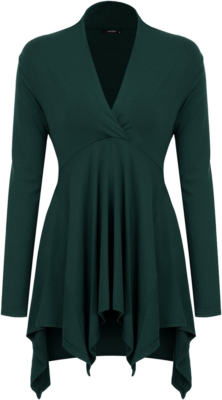 Mixfeer Womens Cross V Neck Long Sleeve Empire Waist Asymmetric Hem Tunic Top