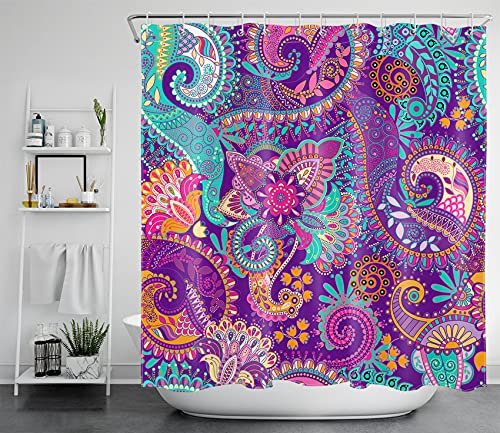 LB Indian Bohemian Shower Curtains Mandala Design Colorful Boho Floral Pattern Paisley Shower Curtains Teal Purple Shower Curtains for Bathroom Waterproof Polyester Fabric 72x72 Inch with 12 Hooks