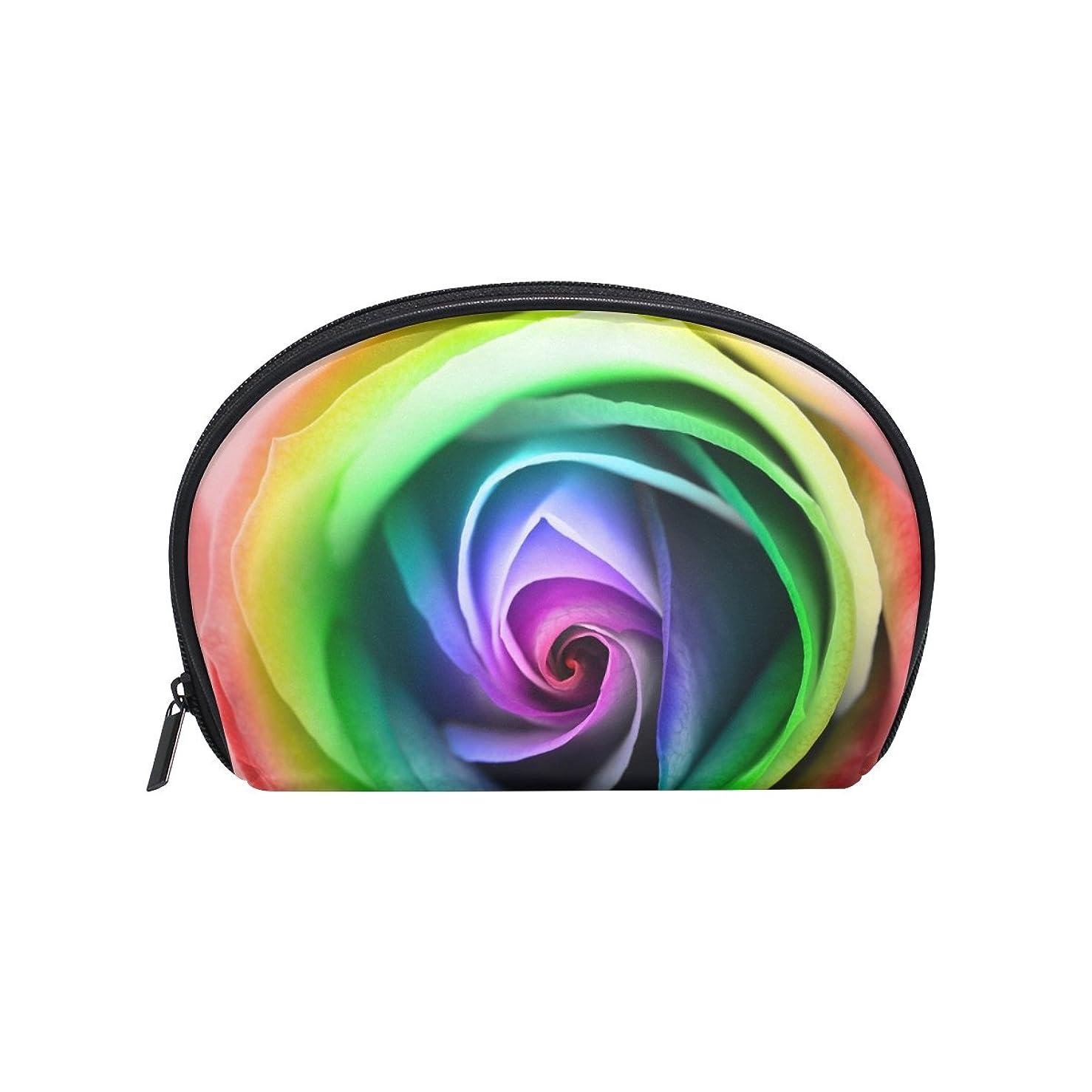 不適当ラグ所得ALAZA レインボーローズ 半月 化粧品 メイク トイレタリーバッグ ポーチ 旅行ハンディ財布オーガナイザーバッグ
