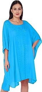 SKAVIJ Women's Tunic Rayon Short Caftan Embroidered Dress (Free Size)