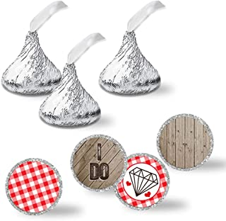 """I Do BBQ Engagement Party Kiss Sticker Labels, 300 Party Circle Sticker sized 0.75"""" for Chocolate Drop Kisses by AmandaCreation, Great for Party Favors, Envelope Seals & Goodie Bags"""