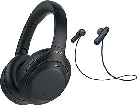 Sony WH-1000XM4 Wireless Noise Canceling Over-Ear Headphones (Black) with Sony WI-SP500 in-Ear Sports Wireless Headphones...