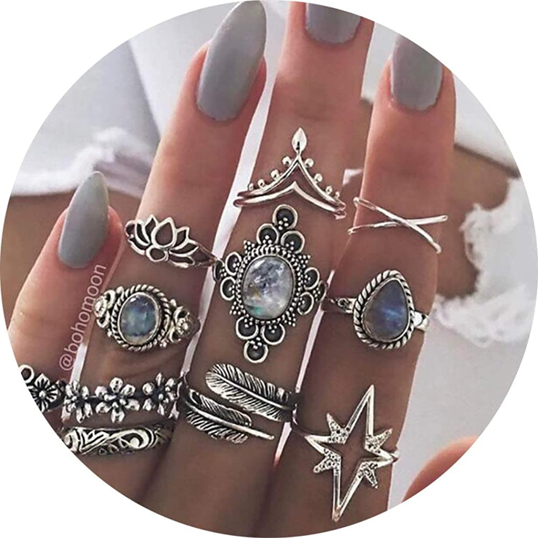11 Pcs Vintage Women Mid Ring Set Flower Love Heart Rhinestone Joint Knuckle Nail Midi Ring Set …