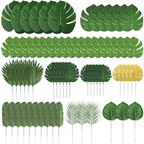 Kyrieval 70 Stück Künstliche Palmblätter Tropische Blätter Dekorationen für Dschungel Party Dekorationen Strand Geburtstag Luau Hawaiian Party Dekorationen (10 Stile)