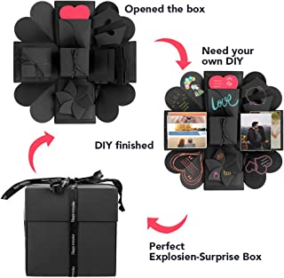 Explosion Box, Kmeivol Surprise Explosion Box for Birthday, DIY Handmade Photo Album Exploding Box for Anniversary, Creative Explosion Gift Box for Wedding or Valentine's Day