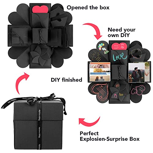 Explosion Box, Kmeivol Surprise Explosion Box for Birthday, DIY Handmade Photo Album Exploding Box for Anniversary, Creative Explosion Gift Box for Wedding or Valentine's Day